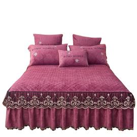 欧式水晶绒夹棉蕾丝床裙式床罩单件加绒花边床单加厚保暖冬天床套