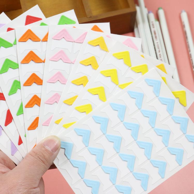 五年八班 24枚DIY相册角贴8色不同搭配角贴照片固定粘贴纸 新218