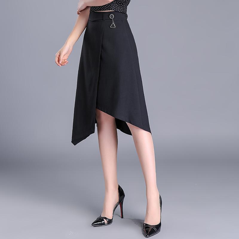 不规则设计半身裙中长款2019春季新款大码修身包臀裙a字裙中长裙