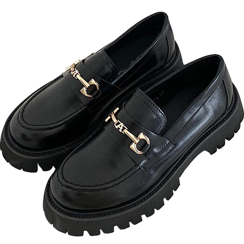 松糕鞋女厚底英伦风一脚蹬阿希哥同款小皮鞋马衔扣乐福鞋 chicli