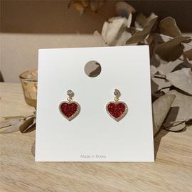 韩国东大门925纯银针少女心爱心红色心形耳环女耳钉简约小巧耳钉