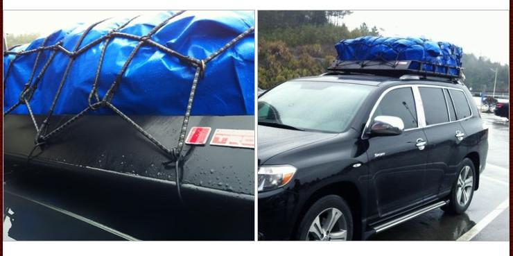 包邮通用行李架网越野橙啸框网兜行李绳索网汽车行李网罩绑带钢钩