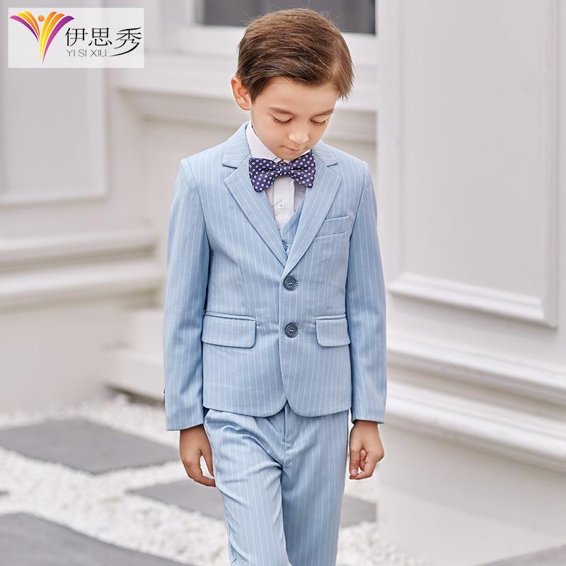伊思秀儿童西装套装小花童礼服男孩正装小学生西服男童钢琴演出服