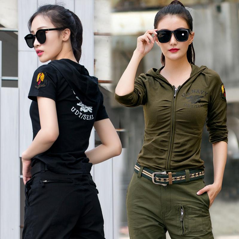 恤女休闲衣连帽修身显瘦运动军迷水兵舞服装上衣 t 户外军绿色长袖
