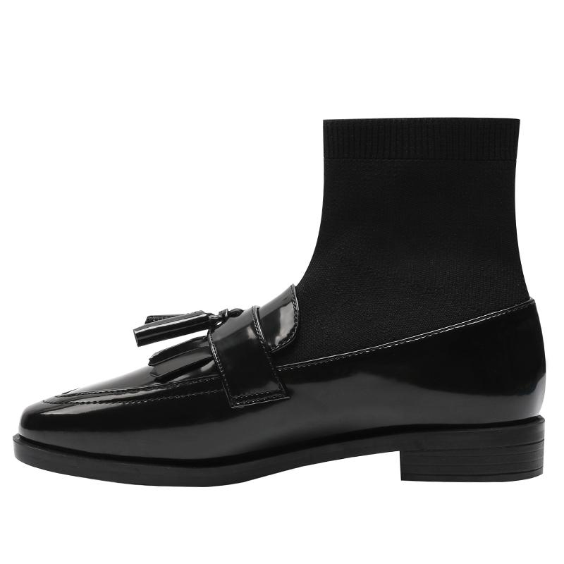 新款弹力连袜子靴女显瘦平底针织漆皮流苏瘦瘦靴短靴马丁靴女 2021