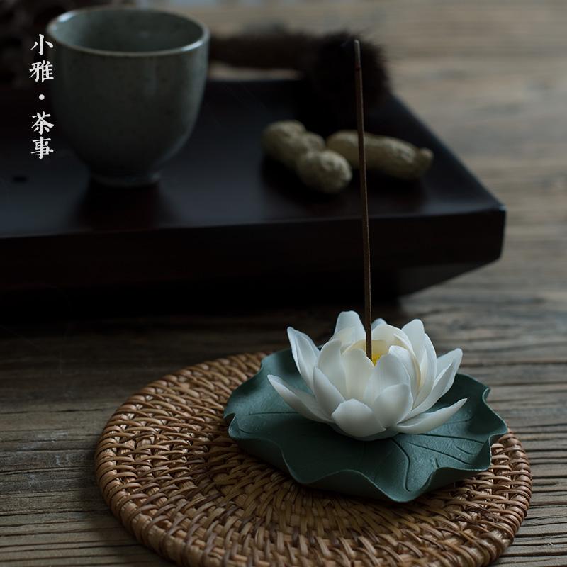 创意手作陶瓷梅花茶宠 茶席茶玩装饰精品摆件 手工瓷花茶道配件