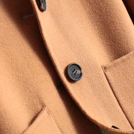 2019新款双面呢羊绒大衣女短款100%纯羊毛小个子外套女娃娃领