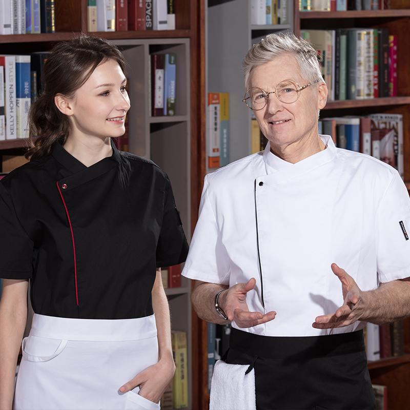 厨师工作服长袖男秋冬装酒店后厨厨师服短袖薄款厨房大码厨师衣服