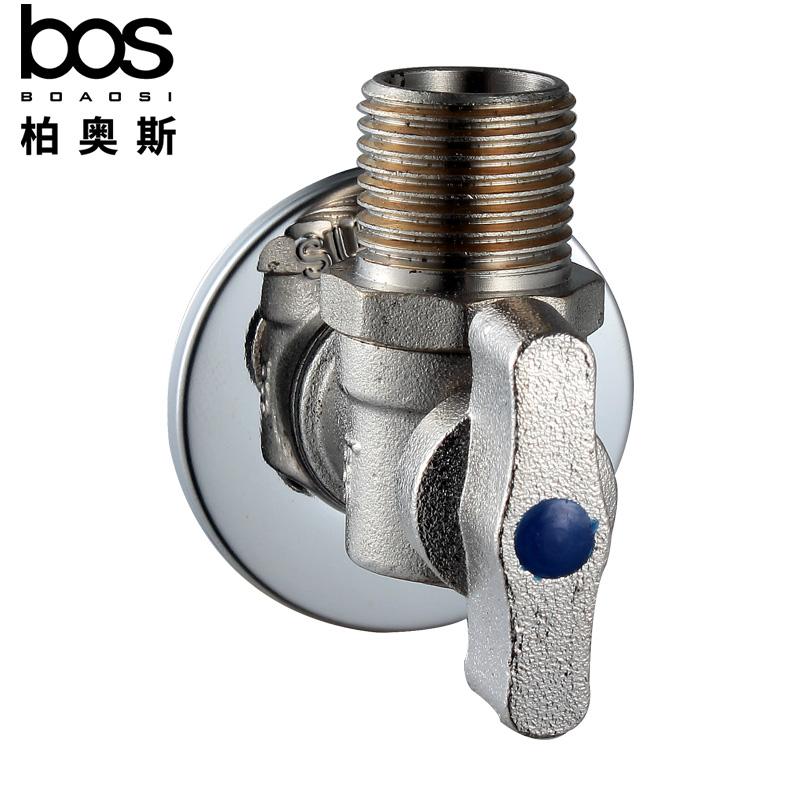 柏奥斯 球芯角阀热水器马桶水龙头4分冷热水全铜通用大流量三角阀