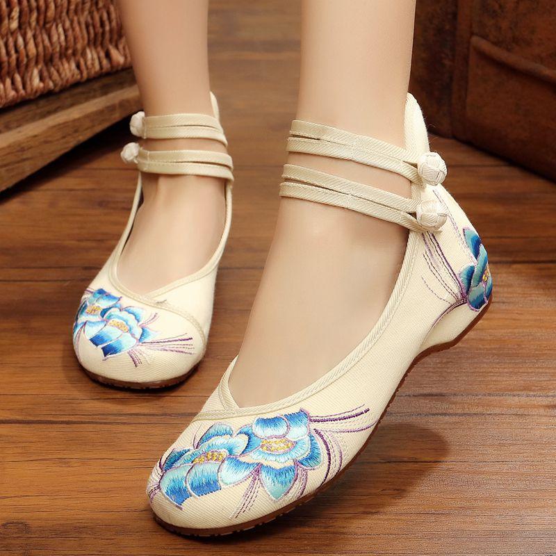 族韵老北京布鞋女款绣花凤凰鞋 牛筋底内增高单鞋坡跟广场舞女鞋