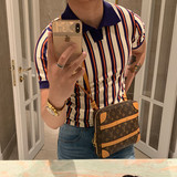 BROTHER summer self-made men's lapel color matching Paul shirt youth fashion was thin and hit color polo short-sleeved men
