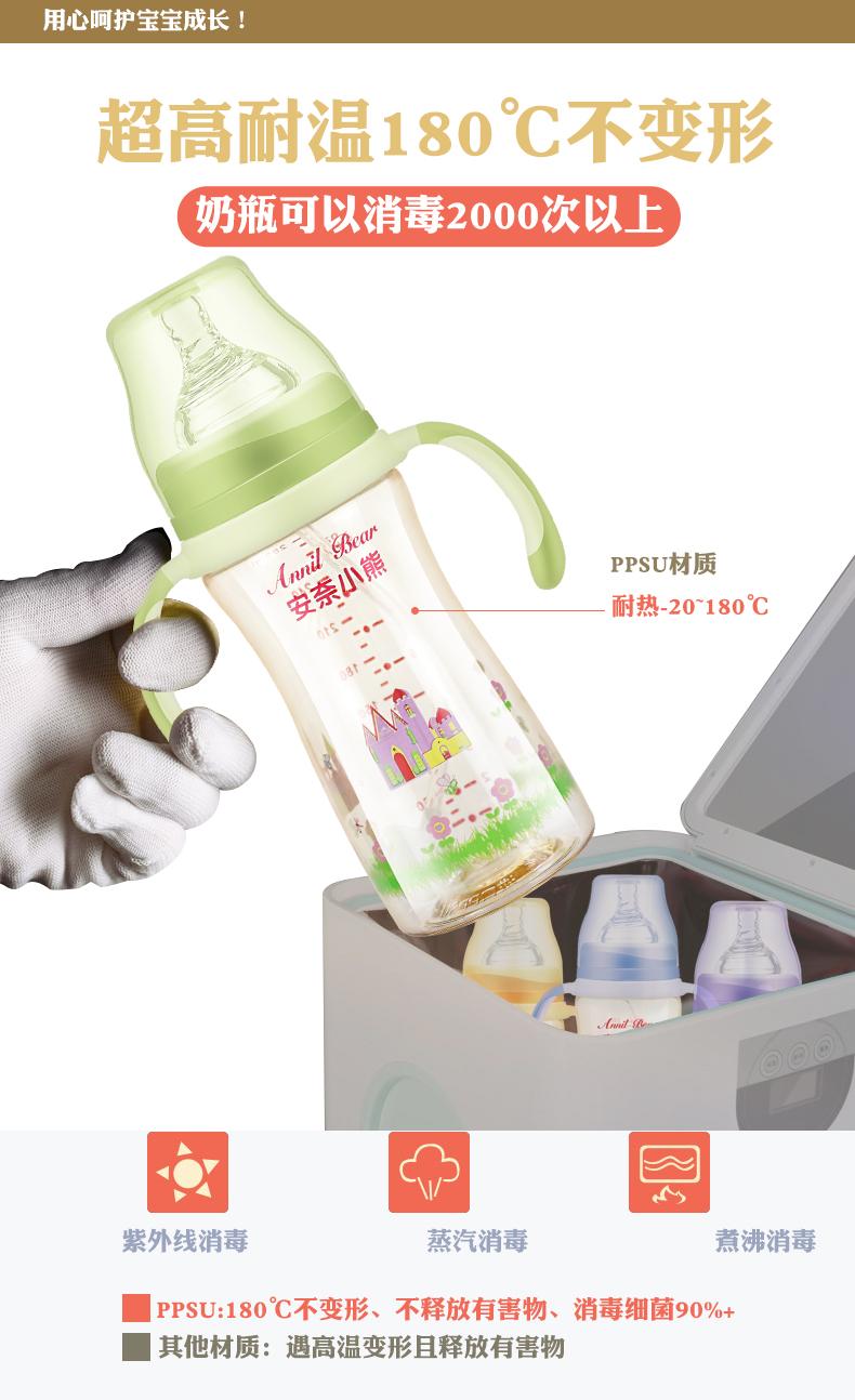 奶瓶PPSU耐摔宽口径正品300毫升大容量1-2-3岁硅胶吸管新生婴儿