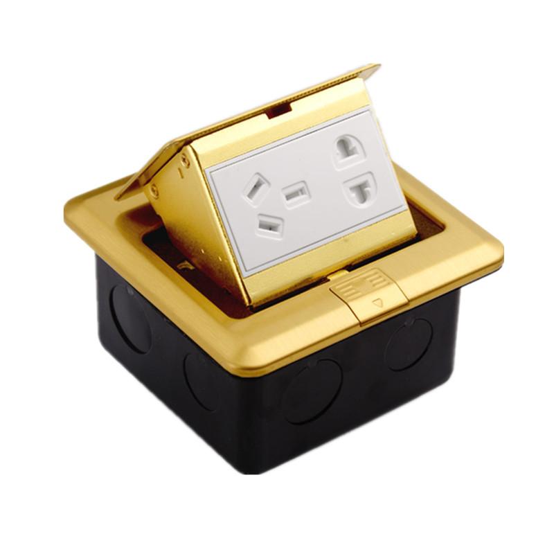 五孔地插座二三插家用镀铜彩钢防水地板地面电源插座工程地脚地插