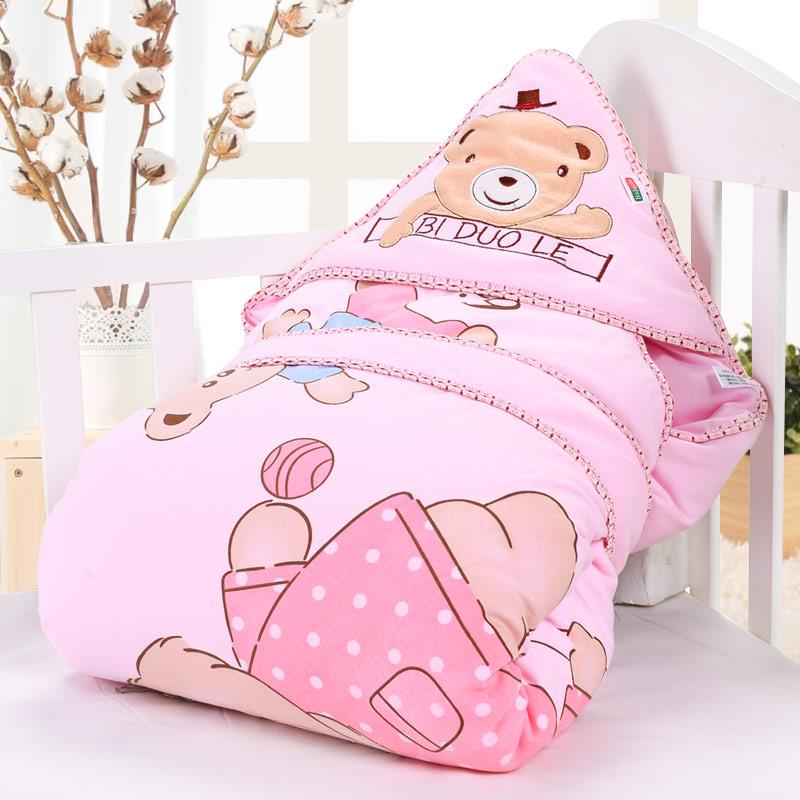 婴儿抱被新生儿包被春秋冬季纯棉初生被子宝宝加厚款可脱胆用品