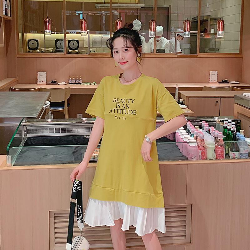 专柜品牌孕妇装韩版短袖中长款孕妇连衣裙上衣 个月大肚 3456789