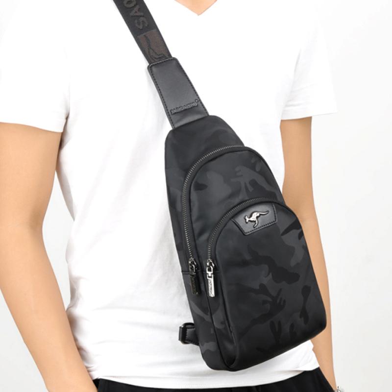 袋鼠胸包男士包单肩包斜挎包尼龙防水小背包