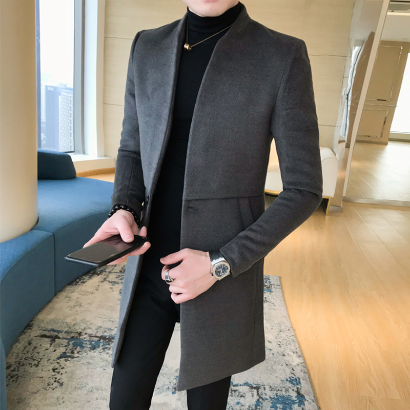 秋冬季毛呢大衣男中长款韩版修身英伦青年呢子外套立领尼妮子风衣