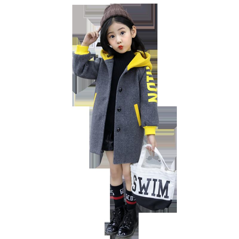 女童呢子大衣秋冬款2019新款韩版儿童冬装女大童毛呢童装洋气外套