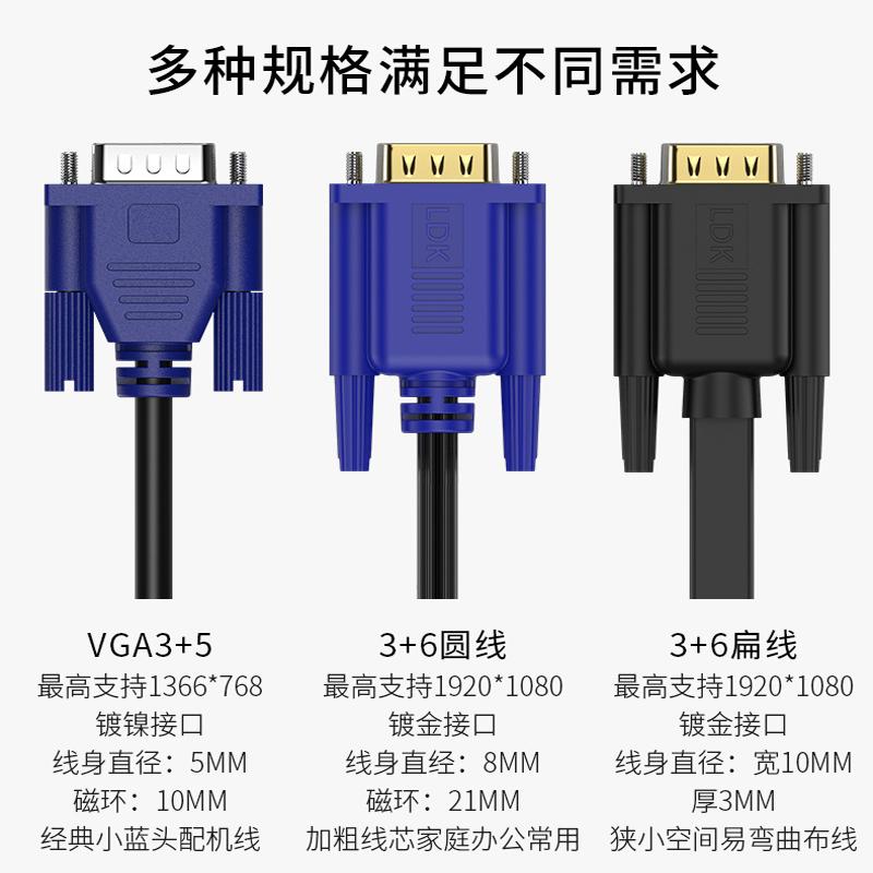 联达科VGA线电脑显示器数据连接线电视频线投影仪线高清vga延长线
