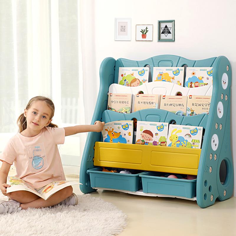 儿童书架简易书架落地置物架宝宝书架书柜玩具收纳架小书架绘本架