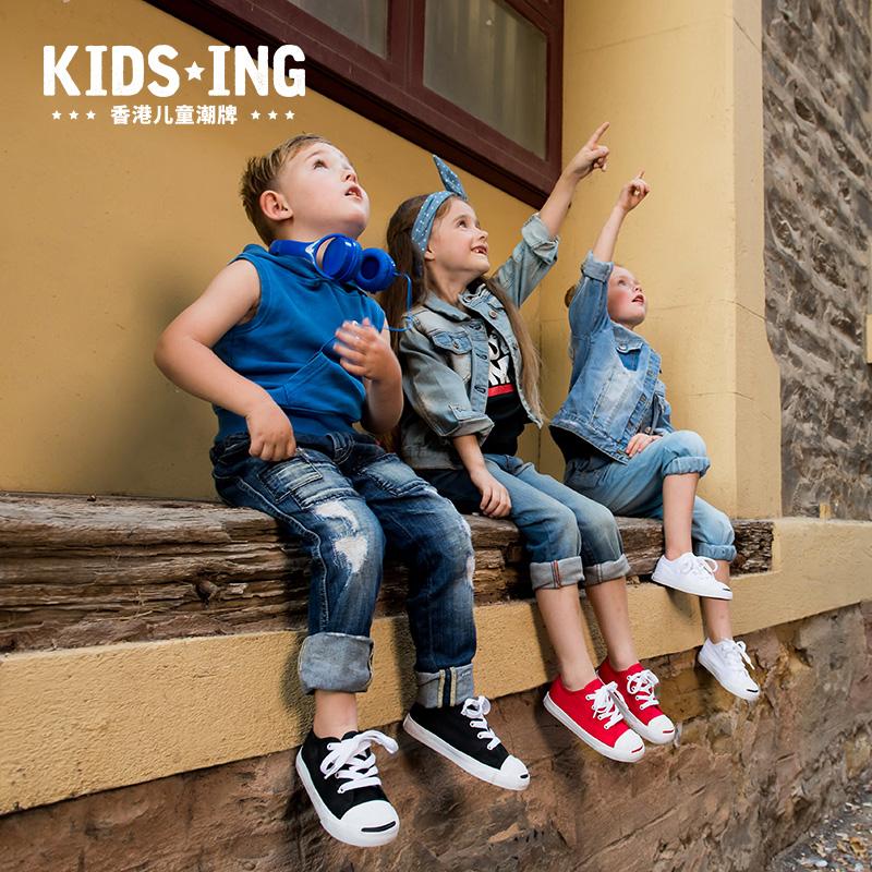 kidsing儿童鞋帆布鞋女魔术贴经典春秋2019小童男童运动宝宝板鞋
