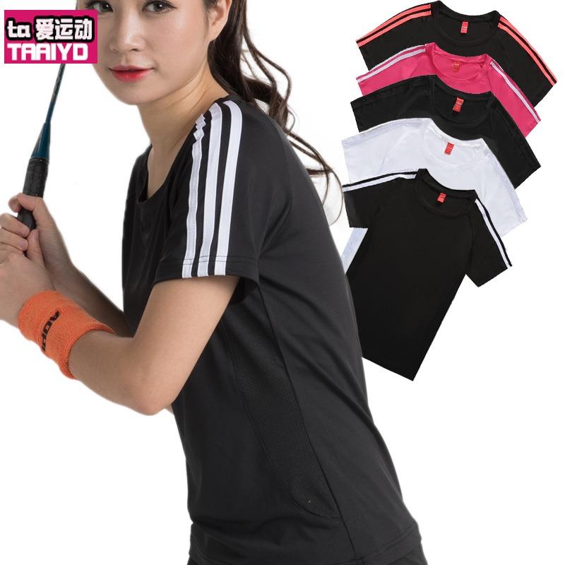 速幹運動體恤女短袖夏季寬鬆薄款圓領T恤大碼胖mm跑步透氣排汗衫