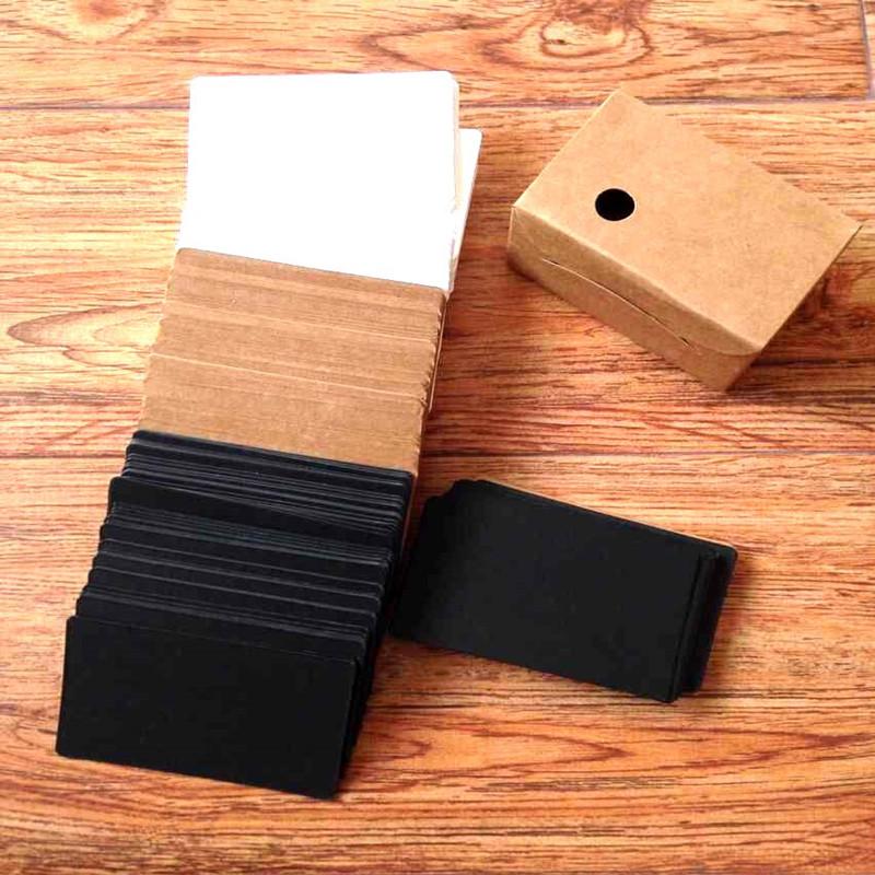 空白圆角生字小卡片diy牛皮卡纸随身单词卡厚白卡200张 名片大小