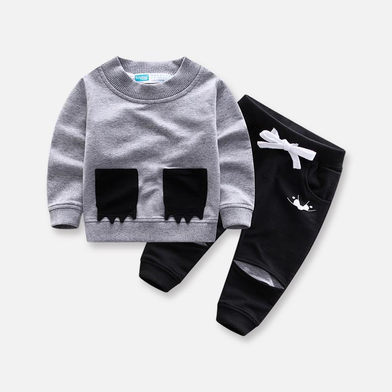 儿童春秋季新款男女童休闲长袖圆领套装0-1-2-3-4岁宝宝两件套潮