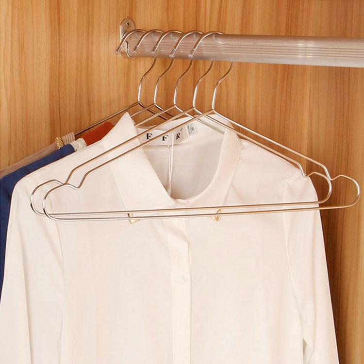 不锈钢加粗实心衣架干湿两用凹槽防滑晒衣裤架挂衣架晾衣架
