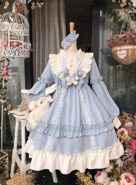 逗酱原创Lolita咖啡泰迪熊doll感浓浓春季可爱复古长袖收腰连衣裙