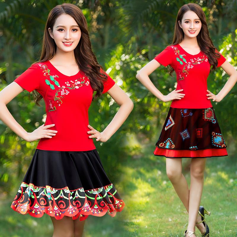杨丽萍广场舞服装新款套装中老年民族风舞蹈服装裙子运动装夏装女