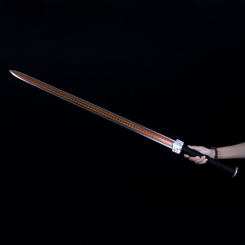 龙泉冷兵堂宝剑吴京八面汉剑花纹钢一体刀剑镇宅长剑硬剑未开刃