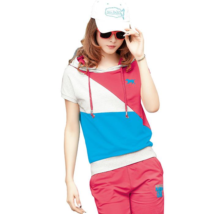 清倉甩貨卡丹美思夏款短袖純棉哈倫褲運動服韓版女式運動套裝特價