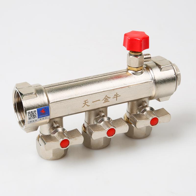 天一 金牛地热地暖分水器 地暖管地热管集水器 全铜锻压加厚家装