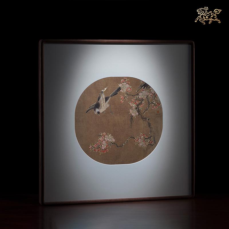 銅師傅 手工鏨刻 銅雕畫《清代溥儒花鳥圖》裝飾畫 背景畫 壁畫