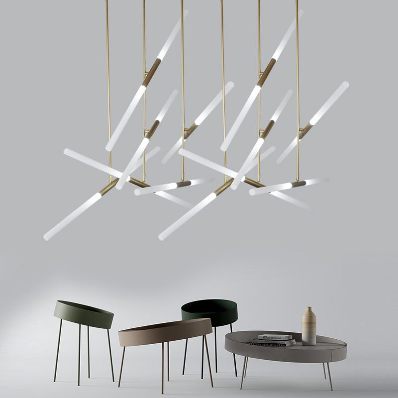 跃豪 led北欧创意个性艺术工业风装饰酒店大堂办公室前台长条吊灯