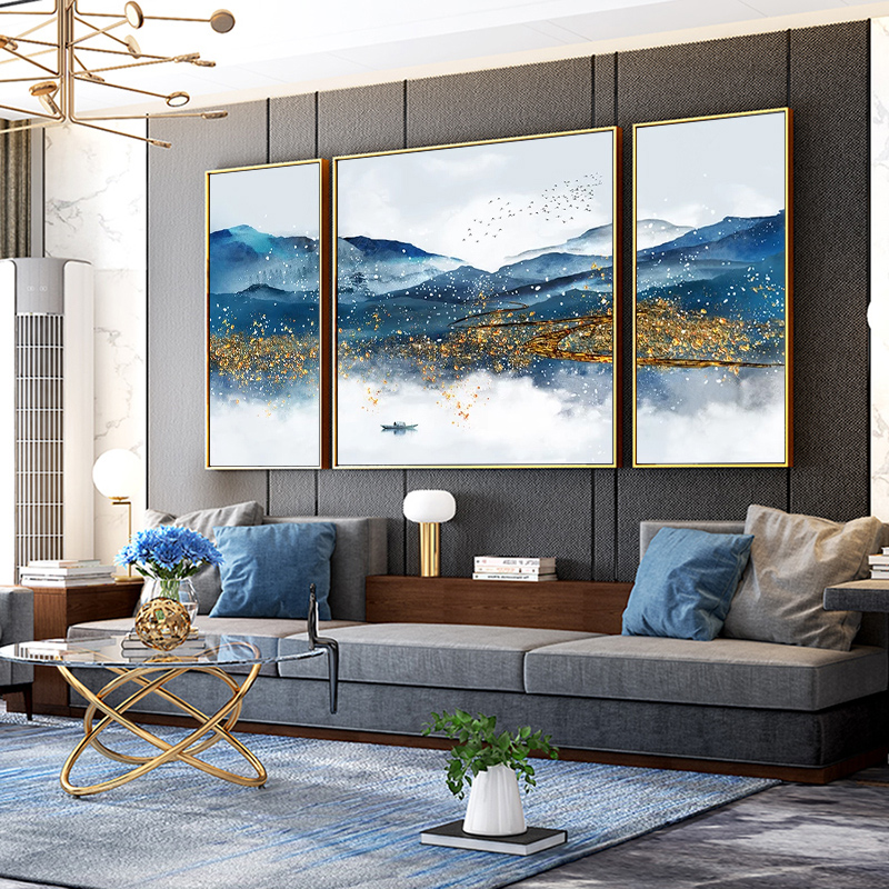 客厅装饰画沙发背景墙挂画三联画现代新中式山水画办公室油画壁画