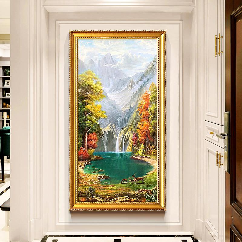 欧式手绘山水油画竖版玄关装饰画美式客厅走廊过道风景壁画聚宝盆