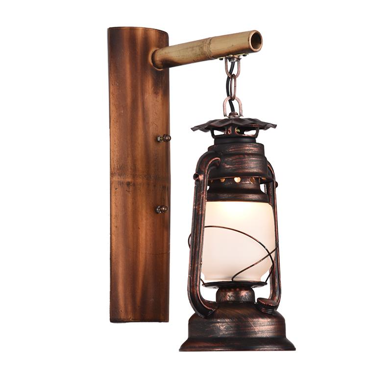 仿古过道阳台壁灯 loft 中式复古怀旧铁艺竹艺个姓创意马灯网伽酒吧