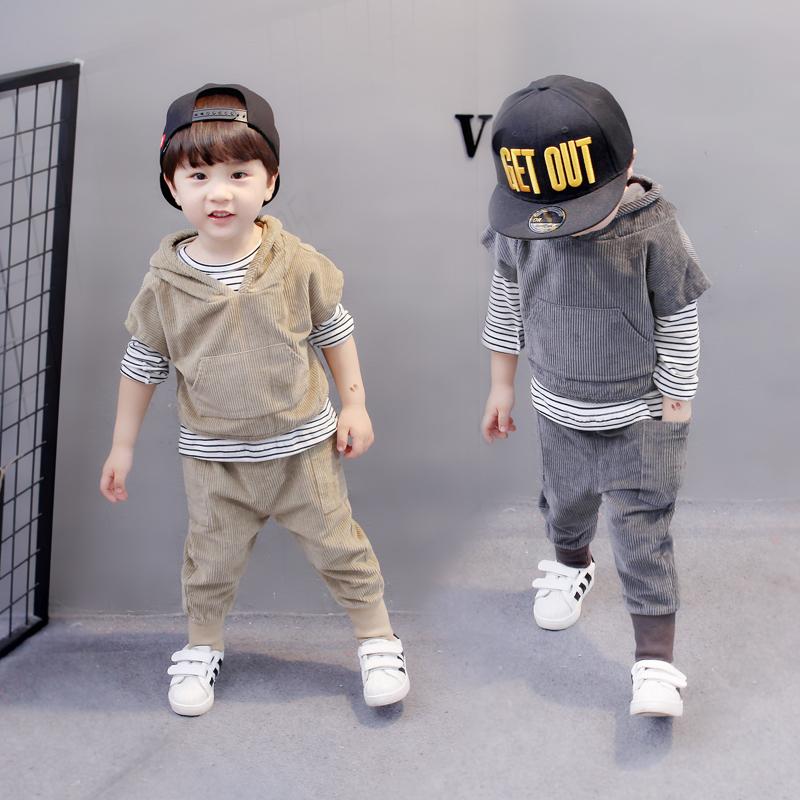 3男童秋装洋气套装5春秋季0儿童7岁小男孩1宝宝衣服2潮运动三件套