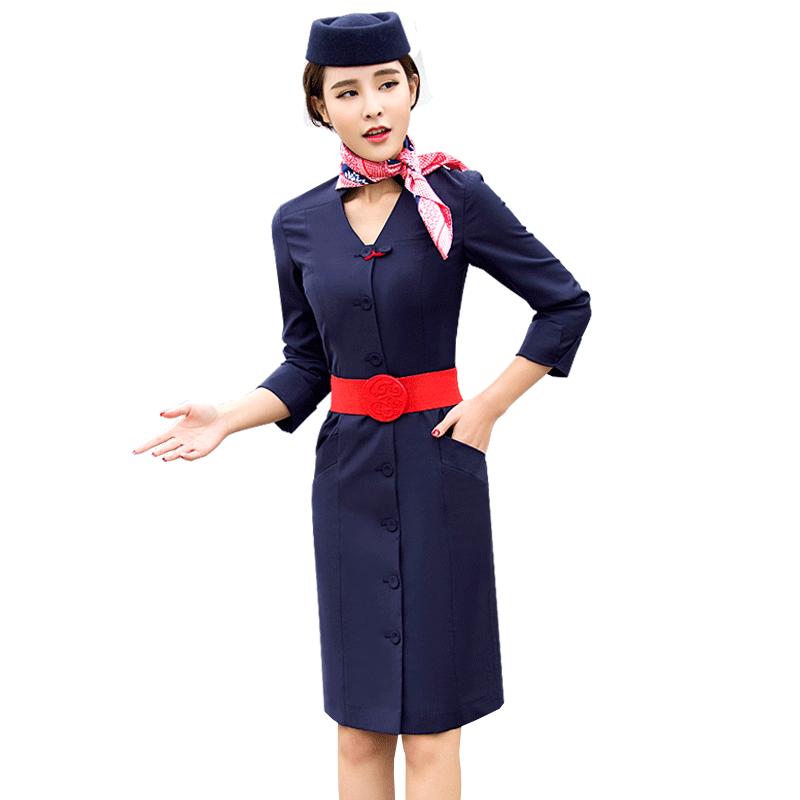 空姐制服职业套装女航空高档工作服女气质修身东航连衣裙美容师服