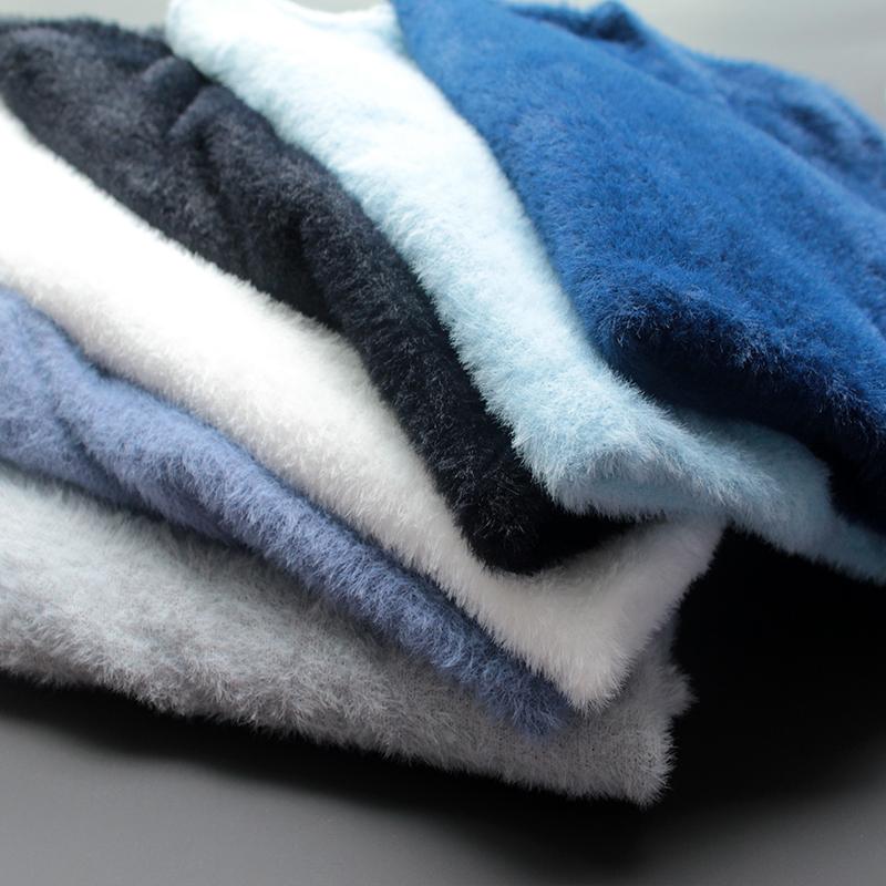 毛绒衣服男毛毛衣冬季上衣保暖t恤男士v领毛衣冬天针织衫男打底衫