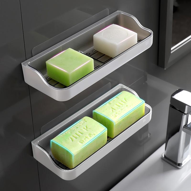 肥皂盒香皂盒置物架免打孔吸盘壁挂式沥水双格卫生间浴室创意