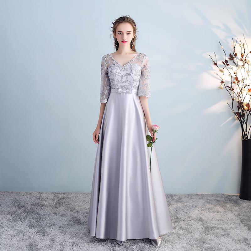 伴娘服2019新款韩版姐妹裙闺蜜装长袖晚礼服长款优雅毕业礼服夏季