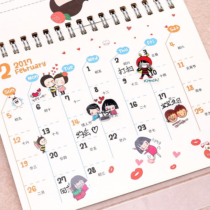 日韩文具可爱卡通贴纸日记贴手帐贴纸DIY装饰贴纸儿童贴纸1套6张