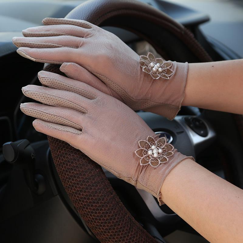 防晒手套短款蕾丝手套女士夏开车驾驶手套防紫外线可爱秋薄款手套
