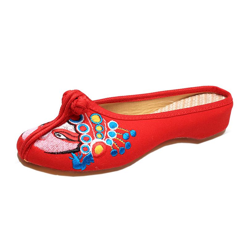 新款民族风绣花拖鞋牛筋底复古包头布拖鞋亚麻女鞋单坡跟刺绣鞋拖