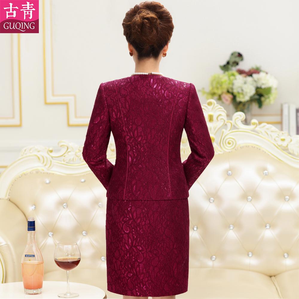 古青婚礼妈妈装秋冬装紫色红色婚宴礼服大码连衣裙中年长袖两件套