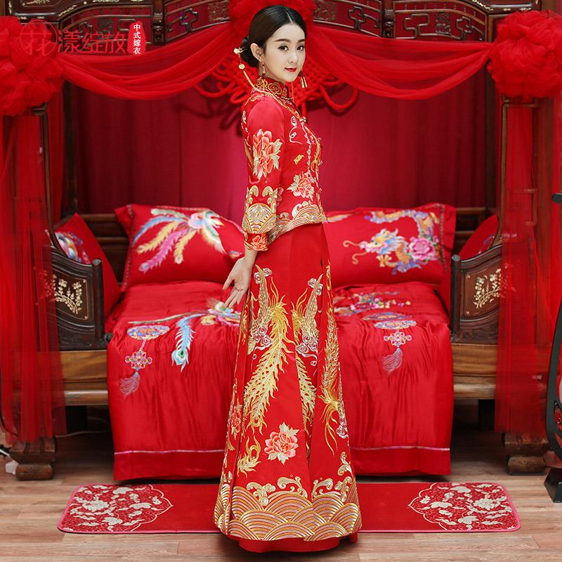 秀禾服新娘2019新款红色敬酒服中式婚纱旗袍结婚礼服龙凤褂秀和服