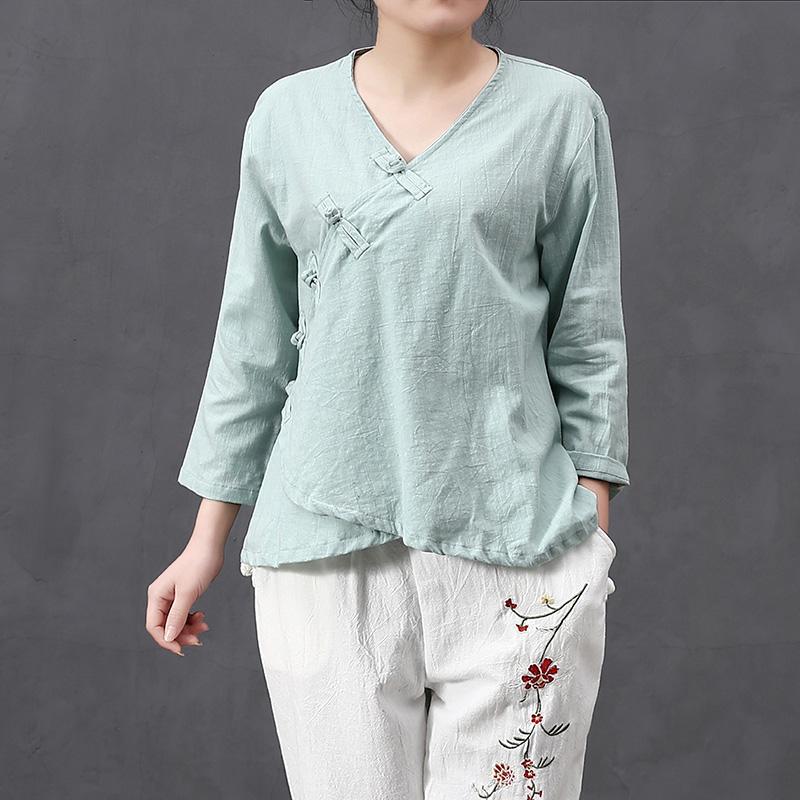 复古文艺范中式民国风斜襟盘扣立领衬衫外穿上衣棉麻女装短款褂子